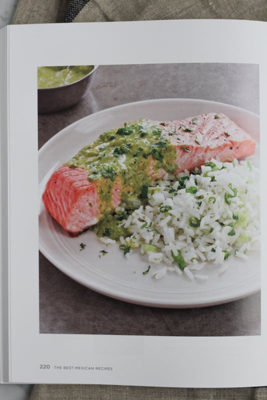 Page from America's Test Kitchen's The Best Mexican Recipes with an image of salmon with salsa verde.