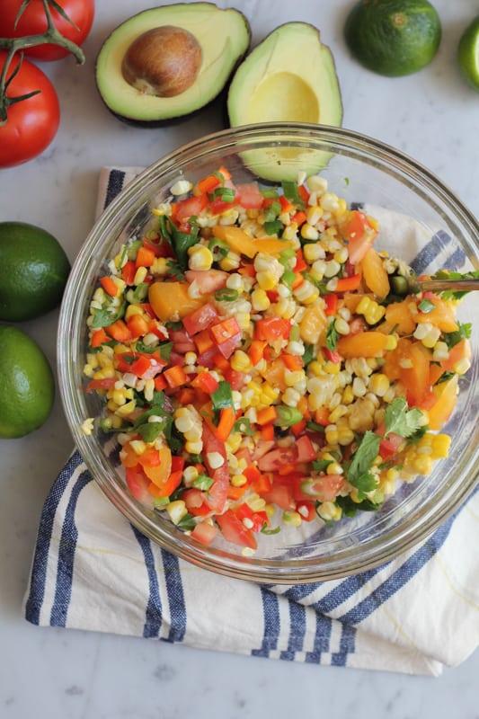 A bowl of corn salsa for Corn and Black Bean Tortilla Tart.