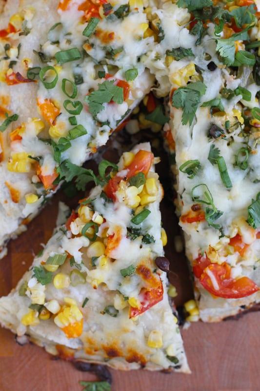 Overhead photo of a sliced Corn and Black Bean Tortilla Tart.