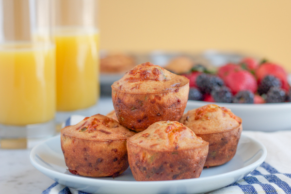 Cheddar Cheese, Chive and BACON muffins! These savory muffins are like a little meal in a muffin. So easy to make!