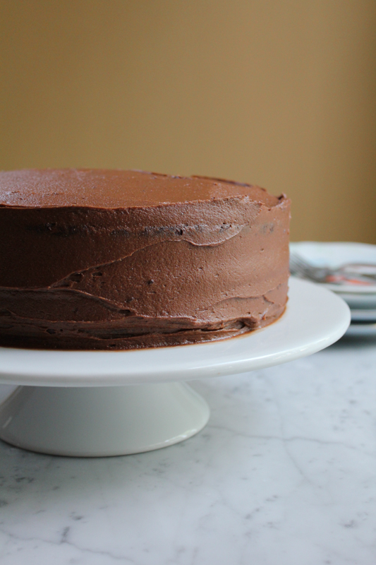 Sour Cream Chocolate Cake with a rich and delicious chocolate buttercream frosting!! Rich, moist and delicious. The way chocolate cake was meant to be. #cake #chocolatecake