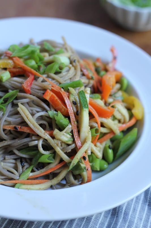 A bowl of Light Asian Noodle Salad.