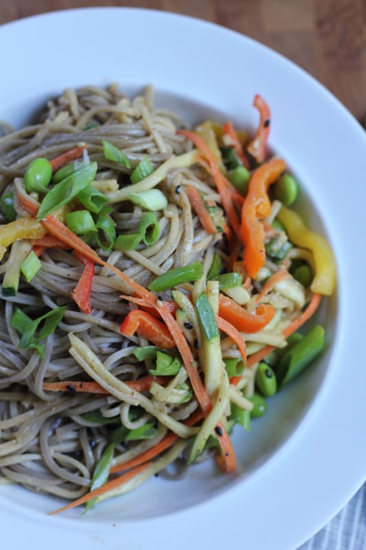 Light Asian Noodle Salad in a bowl.