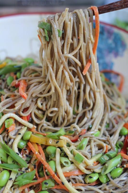 Light Asian Noodle Salad with chopsticks.