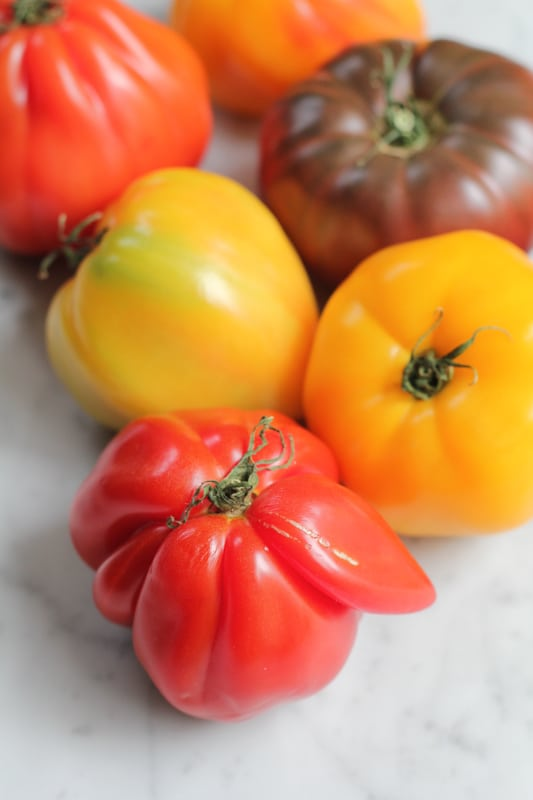 Tomatoes for Simple Caprese Salad.