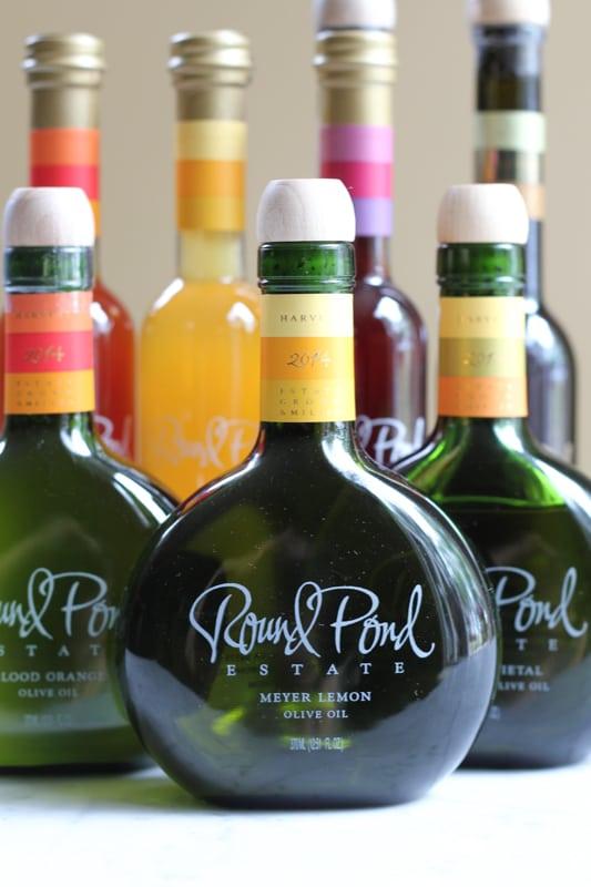 Bottles of olive oil and vinegar for Simple Caprese Salad.