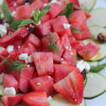 Zucchini Watermelon and Feta Salad