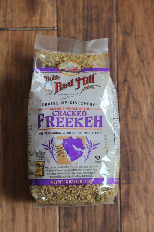 A bag of freekeh grains for Mediterranean Freekeh Salad.