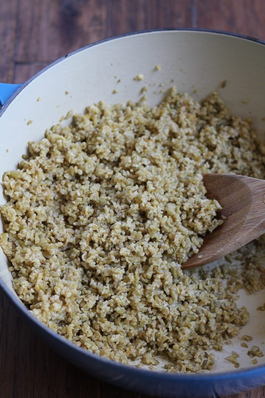 A pot of cooked freekeh for Mediterranean Freekeh Salad.