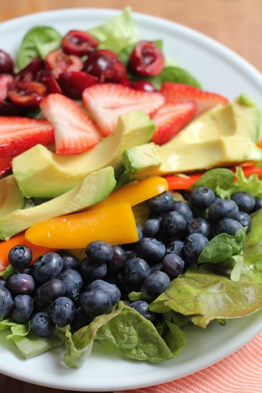 Close up photo of a plate of Summer Berry Salad.