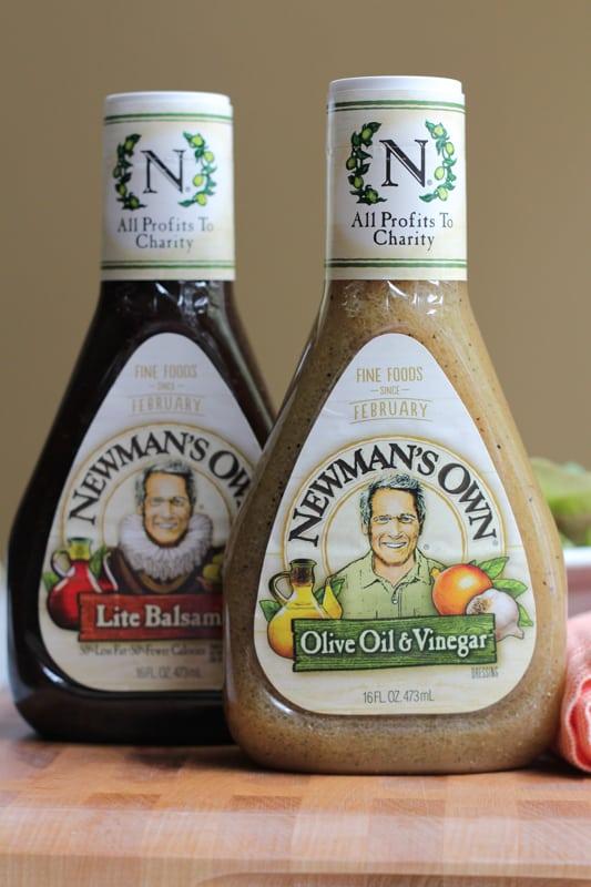 Two bottles of vinaigrette for Summer Berry Salad.