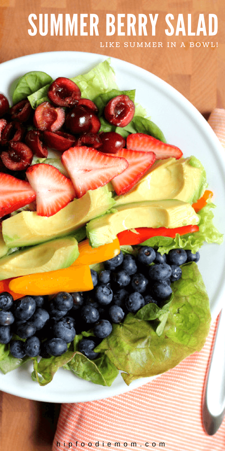 Summer Berry Salad! Eat the rainbow and enjoy seasonal summer fruit! This simple and healthy Summer Berry Salad is like summer in a bowl!#summerberrysalad #berrysalad #berries #salad #fruit #summersalad