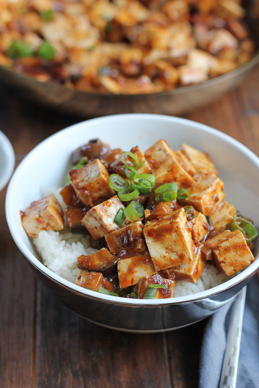 Eggplant Mapo Tofu. Make one of your favorite Chinese food dishes at home! Just follow this recipe and you can adjust the amount of spiciness as desired. #spon #Chinesefood