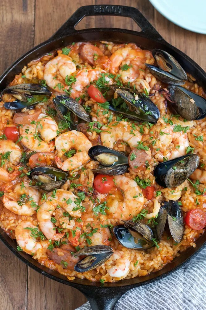 seafood and rice paella