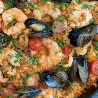 pan of seafood paella