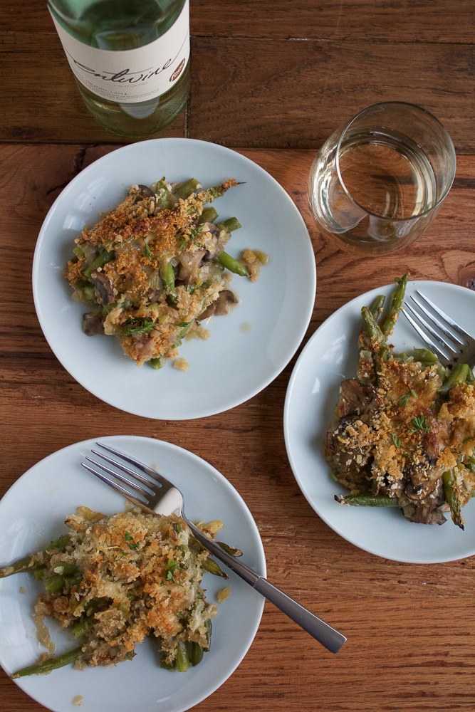 Try this Healthier Green Bean Casserole this holiday season! Absolutely no cream and nothing from a can. Packed with mushrooms, shallots, leeks and fresh green beans, this healthier version is totally worth a shot!! #spon