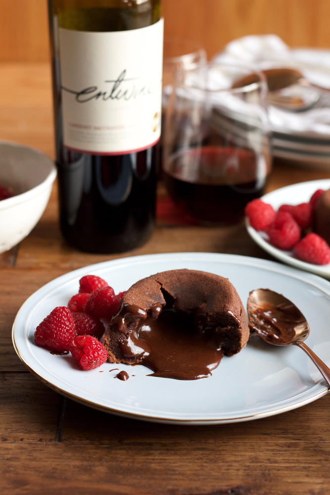Boozy Chocolate Lava Cakes made with Cabernet Sauvignon. So delicious and so EASY to make! The perfect dessert for any chocolate lover! #spon