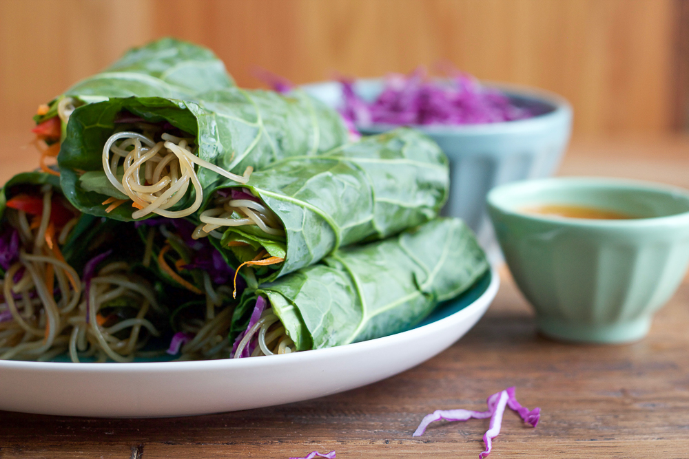 Spicy Asian Collard Green Wraps + A Giveaway!! Fresh, healthy and packed with vitamins, fiber and a ton of fresh veggies, you have to try my Spicy Asian Collard Green Wraps!! These are so easy to make and the peanut sauce is amazing!!