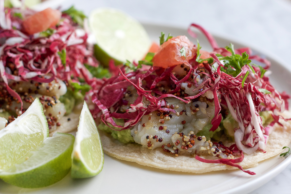 Giada's Fish Tostadas with Citrus Salsa! Fresh, easy to make and creative! The fish has a quinoa coating and is absolutely delicious!