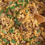 one pot ground beef stroganoff in a skillet