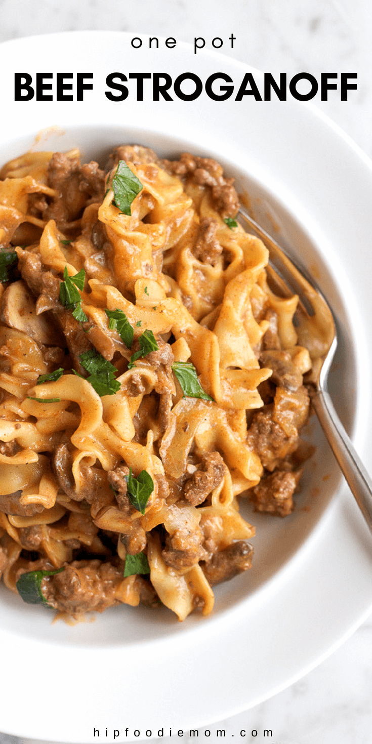 noodles in creamy sauce with beef