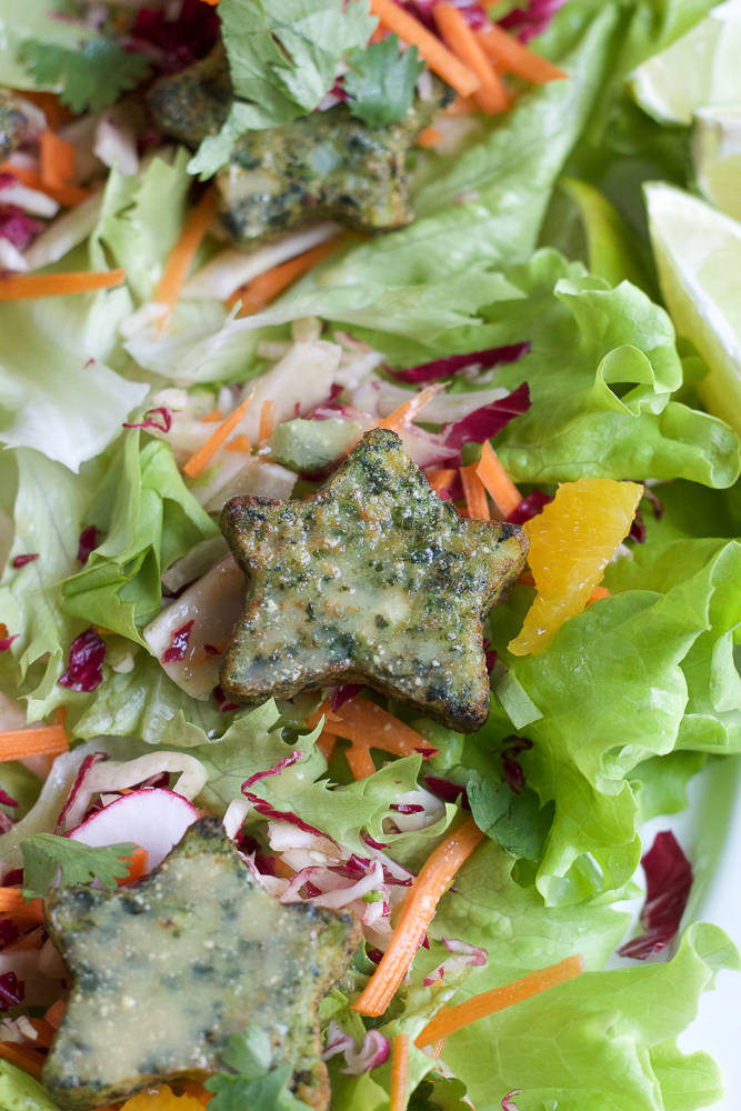 Kale and Potato Lettuce Cups with Orange Vinaigrette! Fresh and delicious lettuce cups made with Dr. Praeger's new Kale Littles! Kale, potatoes and onions packed into adorable shapes to help your kids eat more veggies!