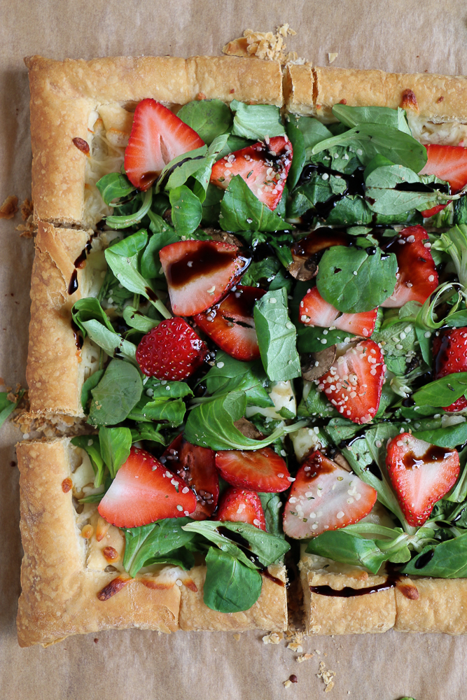 Strawberry Salad Tart. Celebrate spring with this savory and fresh spinach and strawberry tart! Using puff pastry makes this tart so easy to make and delicious!