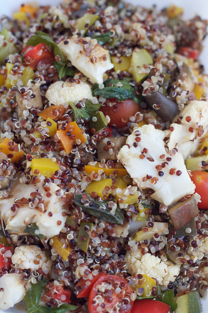 Mixed ingredients for Mason Jar Salad.