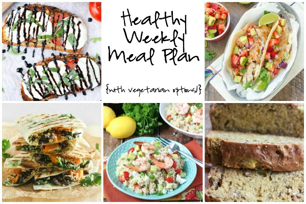 A healthy weekly meal plan featuring enchiladas, fresh fish tacos, Mediterranean Grilled Shrimp Quinoa Salad and more!