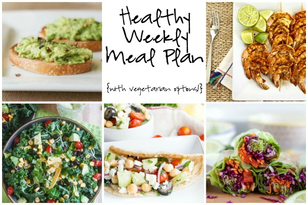 A healthy weekly meal plan featuring Asian Chicken Spring Rolls, Chopped Mexican Kale Salad with Creamy Avocado Dressing, Spicy Lime Grilled Shrimp and more!