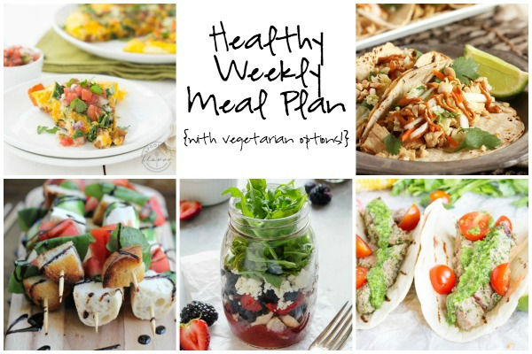 Healthy Weekly Meal Plan 7.2.16! A healthy weekly meal plan featuring a Kale and Sweet Potato Frittata, Caprese Kabobs with Balsamic Glaze, Thai Chicken Tacos with Spicy Peanut Sauce and more!