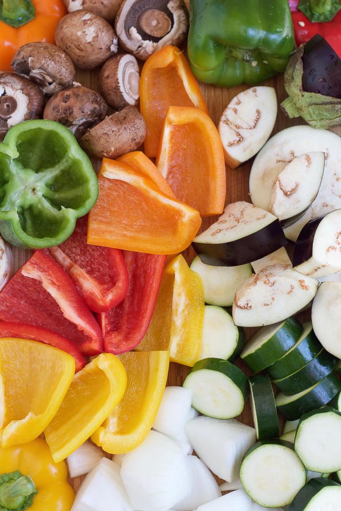 Sliced vegetables for Grilled Chicken Kebabs.
