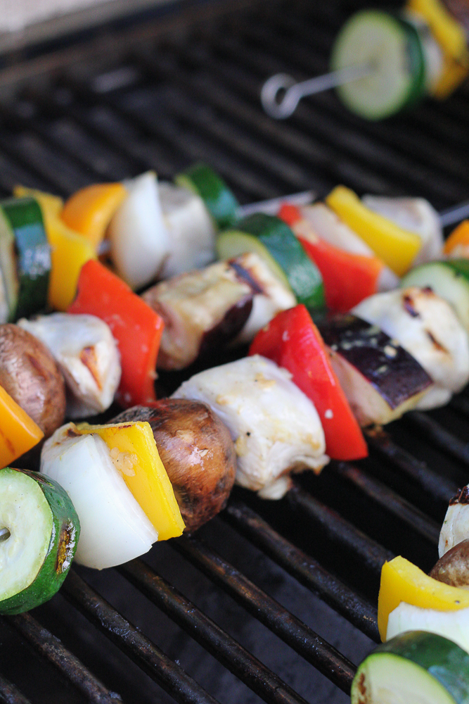 Grilled Chicken Kebabs on the grill.