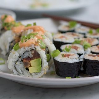 spicy tuna rolls on platter