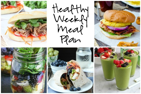 Healthy Weekly Meal Plan 7.30.16! A healthy weekly meal plan featuring a Honey Pineapple BBQ Chicken Sandwich, a Slow Cooker Pulled Pork Banh Mi, a Thai Chicken Salad Wrap and more!