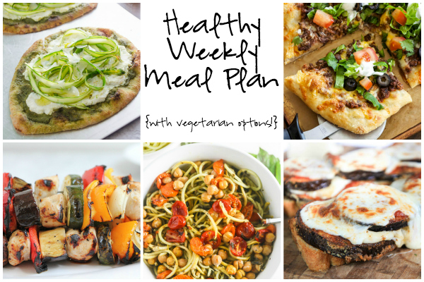 Healthy Weekly Meal Plan 7.9.16! A healthy weekly meal plan featuring Open Faced Eggplant Parmesan Sandwiches, a Taco Pizza, Grilled Chicken Kebabs and more!