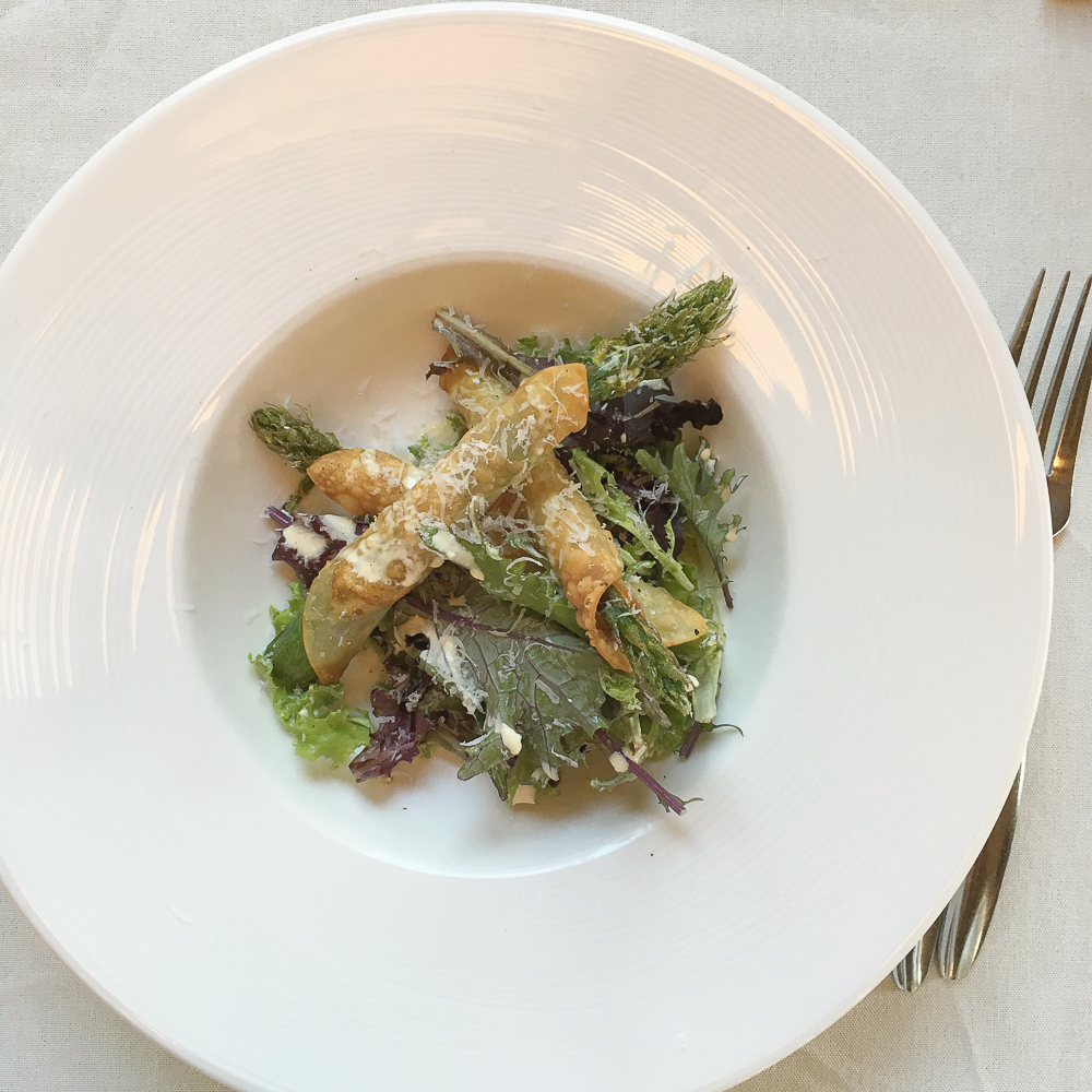 HoQ Table: Fried Asparagus Salad: Wonton wrapped fried asparagus, local greens, creamy dressing and shaved prairie breeze