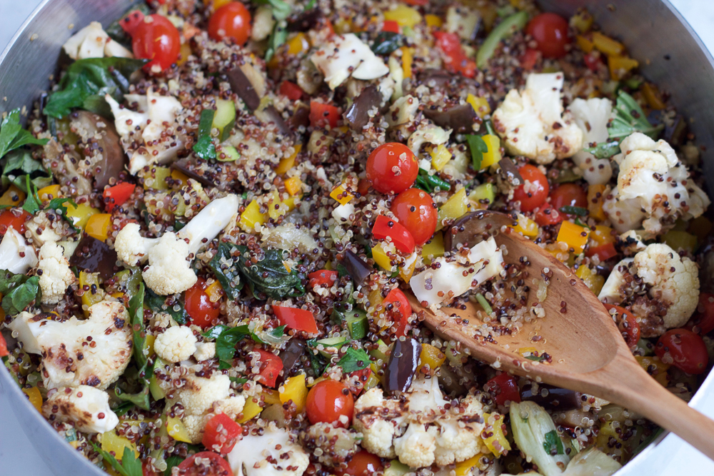 A pot of Summer Quinoa Salad.