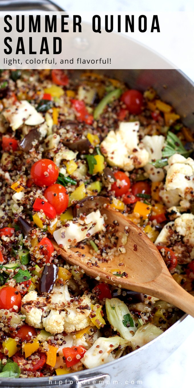 Summer Quinoa Salad! This light, colorful and flavorful quinoa salad is the perfect way to use and enjoy in season produce this summer. #summerquinoasalad #quinoasalad #quinoa #barbecue #potluck #lunch #dinner #vegetarian #glutenfree #salad
