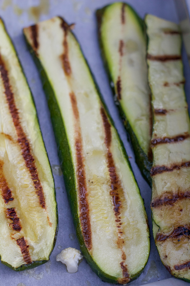 Grilled zucchini slices.