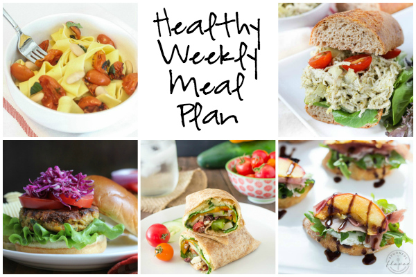 Healthy Weekly Meal Plan 8.6.16! A healthy weekly meal plan featuring an Artichoke and Pesto Chicken Salad, Grilled Peach Crostini with Arugula, Prosciutto, and Goat Cheese, Easy Roasted Tomato Garlic Pasta and more!
