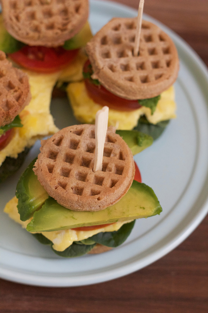 Mini Waffle Breakfast Sandwiches! Quick, easy to make and healthy! Made with Van's Mini Waffles, these are the perfect back to school breakfast to get kids (and adults) ready for the day!