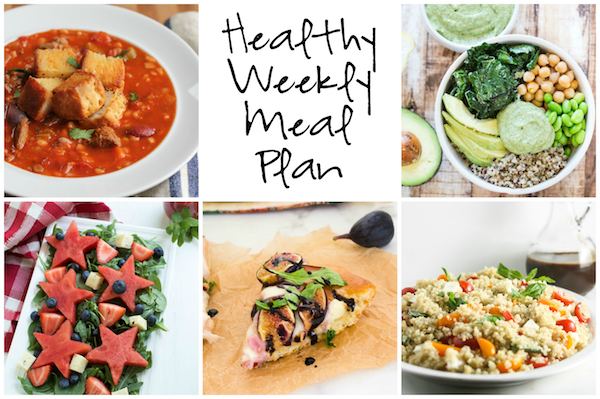 Healthy Weekly Meal Plan 9.10.16! A healthy weekly meal plan featuring Beef and Barley Stew, a Caprese Quinoa Salad, Green Goddess Quinoa Bowls and more!