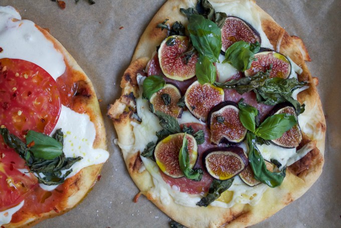 Fig Prosciutto Pizza! Super easy to make and delicious Fig Prosciutto Pizza on flatbread or naan bread. Take full advantage of fig season and make this pizza! It's so good!