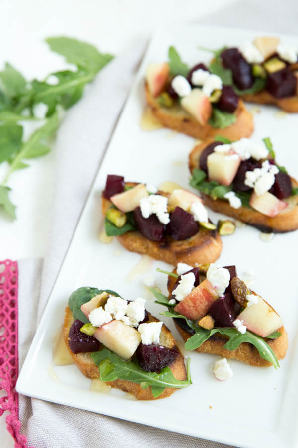 grilled-apple-beet-and-arugula-crostini