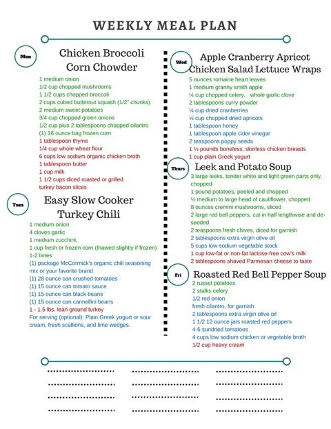 Healthy Weekly Meal Plan 10.8.16! Fall is here in full swing! A healthy weekly meal plan featuring Chicken Broccoli Corn Chowder, Slow Cooker Turkey Chili, Red Lentil Coconut Curry Stuffed Spaghetti Squash, Roasted Red Bell Pepper Soup and more!