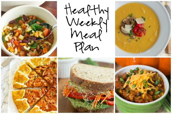 Healthy Weekly Meal Plan 10.1.16! Fall is finally here, hooray! A healthy weekly meal plan featuring Butternut Squash, Leek and Gruyere Galette, Chicken Black Bean Pumpkin Chili, Leek and Potato Soup and more!