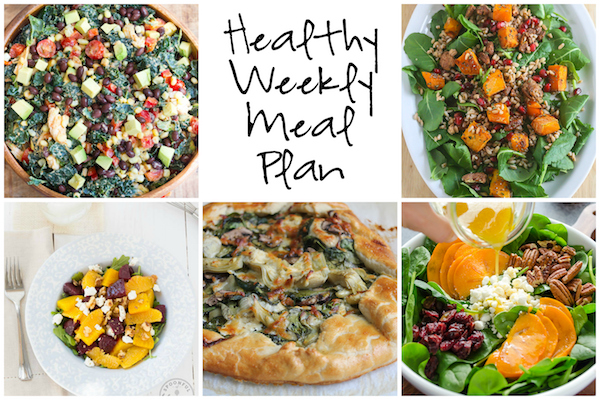 Healthy Weekly Meal Plan 11.26.16! A healthy weekly meal plan featuring a Winter Kale Salad with Butternut Squash, Persimmon and Spinach Salad, a Spinach Mushroom Artichoke Galette and more!