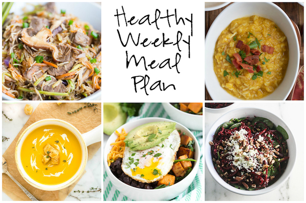 Healthy Weekly Meal Plan 11.12.16! A healthy weekly meal plan featuring Sautéed Sweet Potato and Greens Breakfast Bowls, Autumn Corn Chowder, Butternut Squash Potato Leek Soup and more!