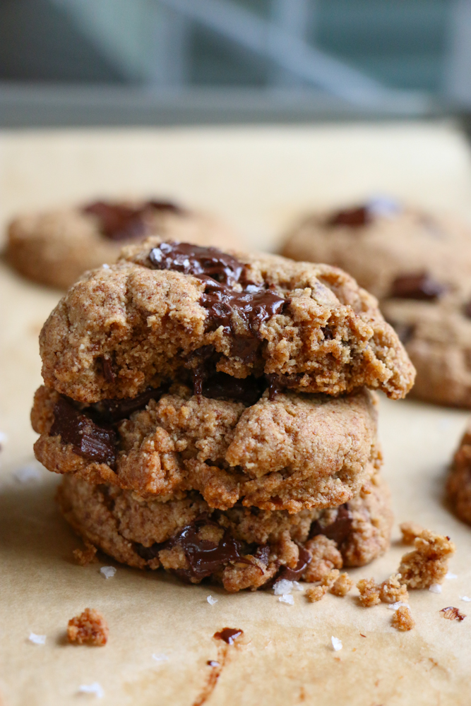 Paleo Chocolate Chip Cookies made with a flax egg, coconut flour, almond flour, coconut sugar, almond butter and more! These cookies are always devoured when I bake them. .  hope you give this recipe a try!